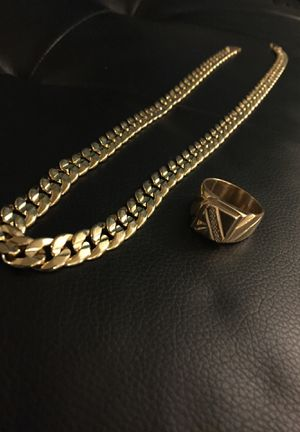 "18K New 20"" Gold Plated Herringbone 18K Mens Cuban Chain & Ring for Sale in New York, NY"