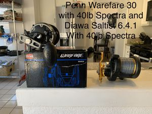 Fishing Reels, Penn warfare 30 with 40lb Spectra 400 yards and Diawa Saltist 6.4.1 with 40lb Spectra 400 yards. Great Starters Reels for Sale in Rancho Cucamonga, CA