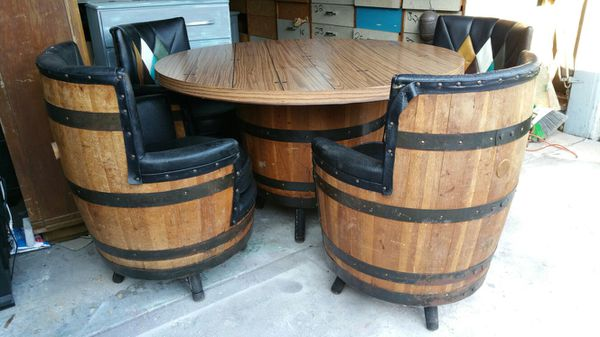 1950 S Vintage Whiskey Barrel Table And Chairs Set For Sale In San Jose Ca Offerup