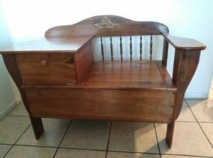 Antique oak Gossip Bench / Telephone Table Chair Desk Top / Phone Seat for Sale in Chino, CA