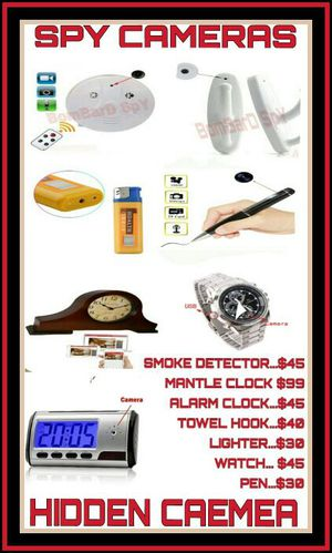 HIDDEN CAMERAS-- Smoke Detector, Alarm Clock, Mantel Clock, Bathroom Towel Hook, Lighter, Pen for Sale in Phoenix, AZ