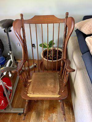Pick up today fabulous antique solid wood HUGE well made rocking chair for Sale in Monroeville, PA