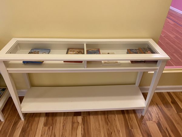 White Sofa table case (3ft w 30in h)