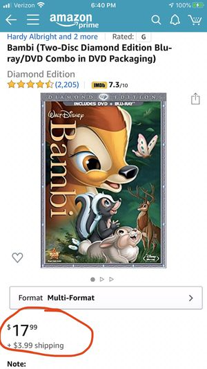 BAMBI BLUE-RAY & DVD PLATINUM - New for Sale in Hull, MA