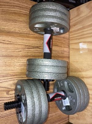 Weights 12x5lb plates with all steel dumbbell handles (60 total pounds) for Sale in West Covina, CA