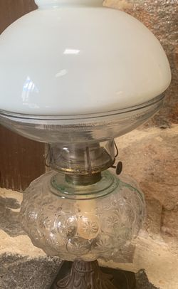 Vintage Oil Lamp of Pressed Glass And Cast Iron for Sale in Fairfax Station,  VA