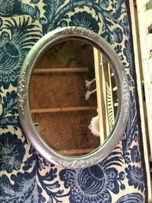 "16"" x 12"" oval antique mirror w ornate wood silver frame for Sale in Villa Rica, GA"