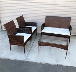 """New in box $190 Small 4pcs Wicker Ratten Patio Outdoor Furniture Set (Seat 37x19"""" and 19x19"""") Assembly Required for Sale in Whittier,  CA"""