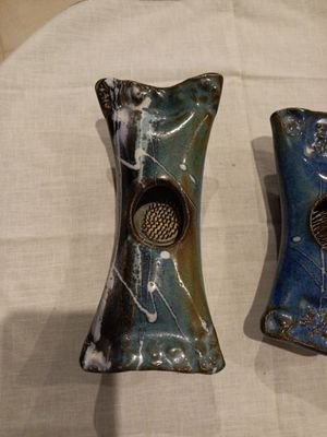 2 Vintage Drip Ceramic Glazed pottery w/flower frogs -signed for Sale in Boynton Beach, FL
