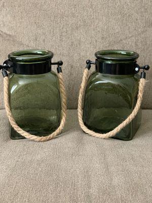 Set of Green Glass Lantern Decor - $16 for Sale in Fontana, CA
