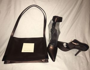 Women's Gucci size 8 shoes heels slightly worn no creases metallic brown for Sale in Las Vegas, NV