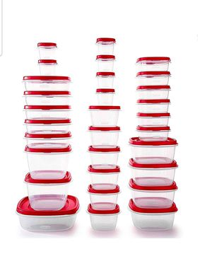 Rubbermaid Easy Find Vented Lids Food Storage Containers, Set of 30 (60 Pieces Total), Racer Red, BPA free microwave safe and dishwasher safe, New, for Sale in Palatine, IL