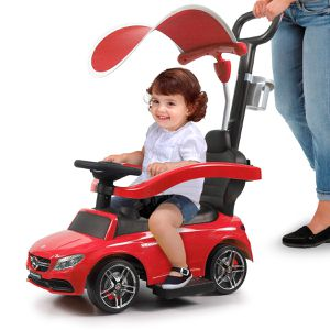 Red Mercedes Benz Kids Ride On Push Car Portable Riding Toy Gift w/ canopy and push rod for Sale in Ontario, CA