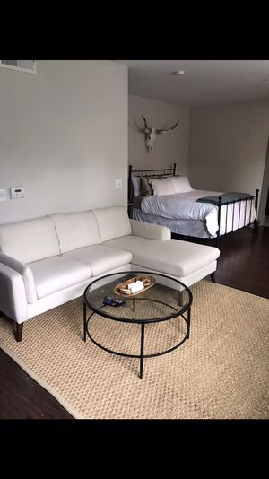 Mid century modern Off-white sectional couch sofa for Sale in Houston, TX