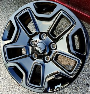 "2019 JEEP WRANGLER RUBICON RIMS NEW GLOSS BLACK ____17"" INCH 5 RIMS for Sale in Houston, TX"