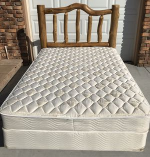 Full Bed w Rustic Pine Log Headboard for Sale in Albuquerque, NM