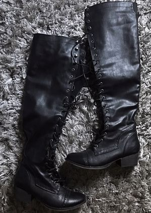 Long over the knee black boots 71/2 for Sale in Fresno, CA