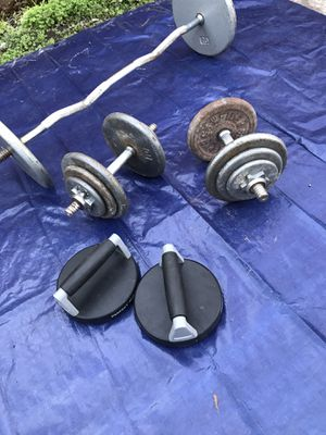 120lbs total weight, curl bar, 2x adjustable handles. Can make up to 2 35lbs dumbells. Perfect push-up for Sale in White Settlement, TX