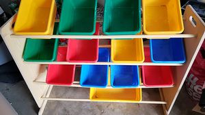 Wood storage shelving with bins for Sale in Palm Beach Gardens, FL