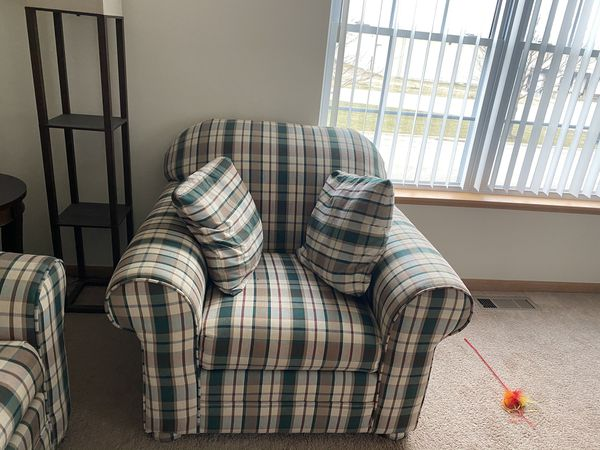 Plaid Couch and Oversized Chair