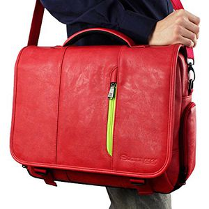 "•Laptop Bag, Crossbody Shoulder Messenger Bag in Red Leather - Fits Laptops up to 15.6"" for Sale in Alhambra, CA"