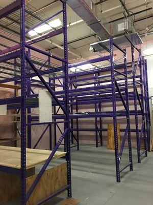 Warehouse Purple Metal Pallet Racks 14 Foot High Uprights Various Beams and Shelf Width to fill 1000 Sq Foot Storage Space for Sale in Boynton Beach, FL