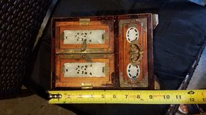 Wooden jewelry case with jade for Sale in South Plainfield, NJ