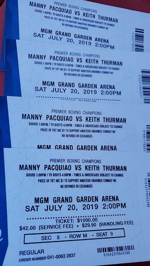 Manny Pacquiao vs Keith thurman for Sale in San Francisco, CA