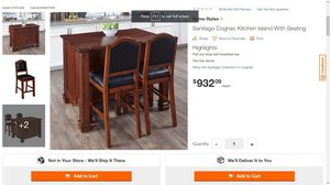 Santiago Cognac Kitchen Island With Seating (ST) for Sale in Stafford, TX