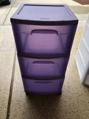 3 drawer purple plastic storage on wheels for Sale in Plainfield, IL