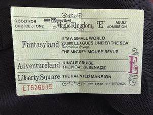 """1970 DISNEY WORLD Vintage Adult """"E"""" Ticket coupon for Sale in Lafayette, CA"""