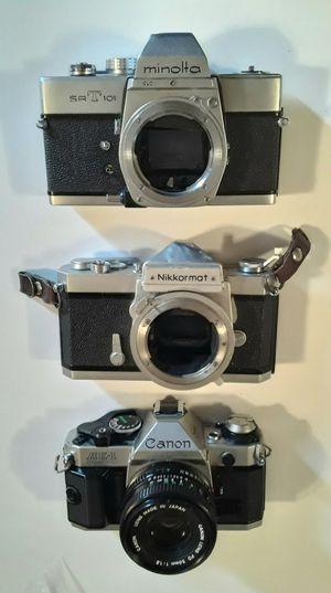 Vintage 35mm Cameras Minolta Nikkormat Canon PARTS OR REPAIR OR DISPLAY for Sale in Pembroke Park, FL