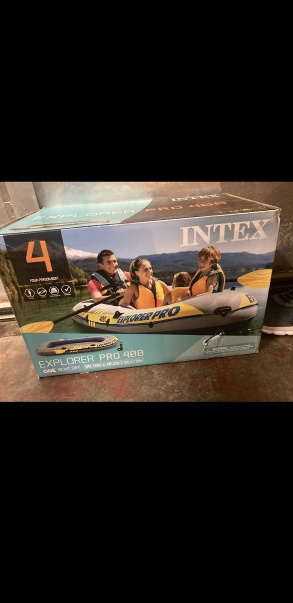 Intex Inflatable Kayak Explorer Pro 400 Four-Person Boat with Oars And Pump