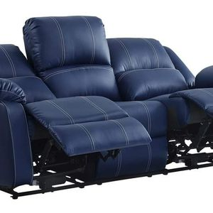 BLUE BONDED LEATHER 2 USB PORTS SOFA COUCH RECLINER - SILLON RECLINABLE MUEBLES for Sale in Downey, CA