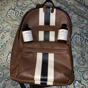 Coach Charles backpack with Leather Cleaner Set Brown varsity Stripe designer nyc New York kit pack for Sale in New York, NY