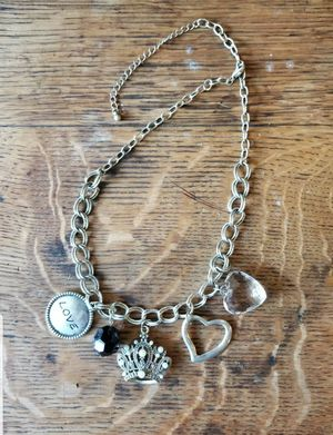 Silver Tone Charm Necklace Love Bead Crown Heart Charms for Sale in Lexington, SC