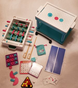My life as American Girl Doll game set bingo pool tic tac toe cards air hockey foosball for Sale in Pittsburg, CA