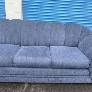 Beautiful Blue Unique Pullout Bed Sofa In Great Shape- Smoke Free Pet Free- Normal Wear for Sale in Roseville, MI