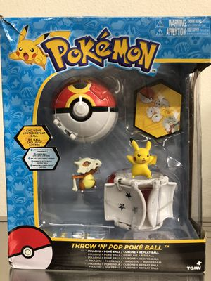 Tomy Pokemon Throw 'N' Pop Duel Pikachu Pokeball & Cubone Repeat Ball Figure Set for Sale in Stanton, CA