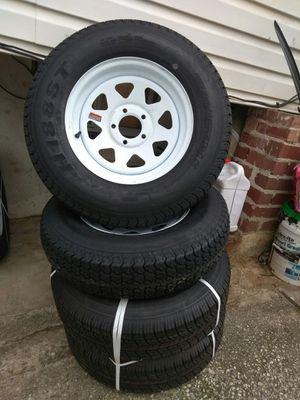 Trailer tires&rim new (4) 205/75/15 4.5 for Sale in Wheaton-Glenmont, MD