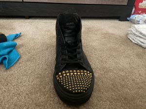 Gucci Black Leather Gold Studded Hi Top Sneaker for Sale in Haines City, FL