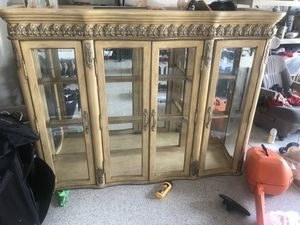 Top only (no base) 54 1/2 T x72w 17 1/2D 5 glass shelves included for Sale in Longwood, FL
