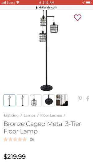 Bronze Caged Metal 3-Tier Floor Lamp for Sale in Monterey Park, CA