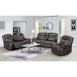 Grey leather 3pc Reclining Set USB/Outlet 🔴🔴🔴🔴HUGE TAX SEASON ESPECIALS!! for Sale in Houston,  TX