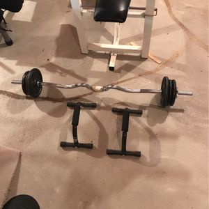 Curl bar with 40 pounds of weight quick release two push-up stands included 80 bucks for Sale in Miller Place, NY