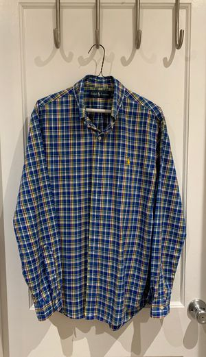 Ralph Lauren Blue and Yellow Striped Button Up Shirt for Sale in Takoma Park, MD