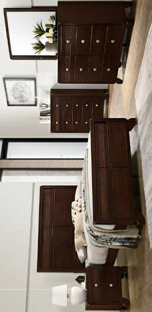 Tamblin Cherry Panel Brand New 4 PC Queen & king size bedroom set (Bed Frame, dresser, mirror, nightstand) for Sale in Stafford, TX