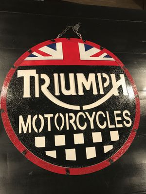 Triumph Motorcycles Handcrafted Metal Sighn Man Cave Garage Sign $45 firm no offers for Sale in San Fernando, CA