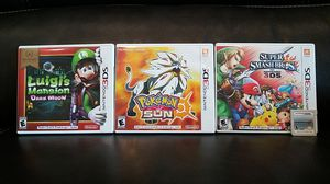 Pokemon Sun, Super Smash Bros. for Nintendo 3ds, Mario Kart 7, and Luigis Mansion Dark Moon Bundle for Sale in Richmond, TX