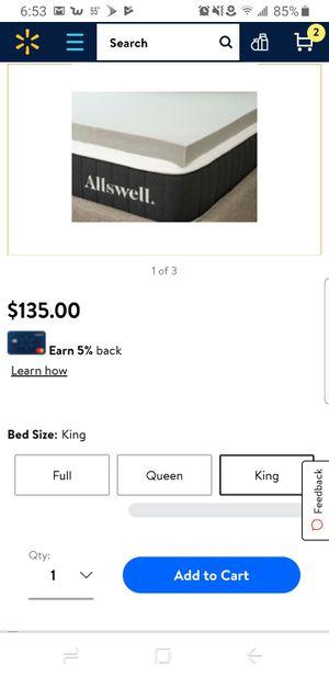King size 3 inch memory foam topper for Sale in Avon, IN